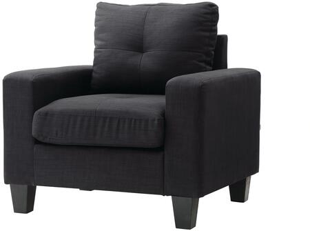 Glory Furniture G475AC Newbury Series Faux Leather Armchair in Black