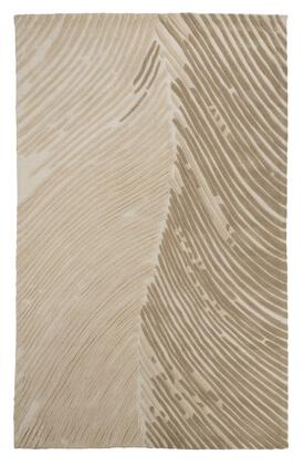 Signature Design by Ashley Wave Hill R40181x X Size Rug with Hand-Tufted Striated Design, Wool Material and Back with Cotton and Latex in Alabaster Color