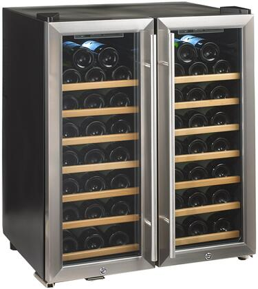Picture of 272480251W Thermoelectric Energy Efficient Dual Zone Wine Cooler with 48 Bottle Capacity  Silent Cooling Technology  Wood Front Shelves and LED Lighting Glass