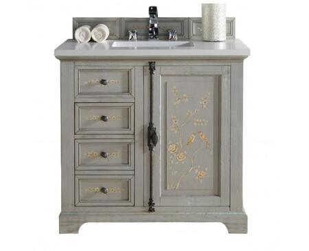 "James Martin Providence Collection 238-105-V36-HP01- 36"" Single Hand Painted Vanity with Plantation Style Hardware, One Soft Close Door, Two Soft Close Drawers and"