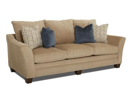 "Klaussner Posen 83844-SX 99"" Sofa with Pillows, Stuffed Cushions and Curvaceous Track Arms"