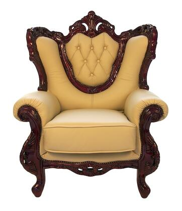 J. Horn 2118IVORYC 2118 Series Leather Armchair with Wood Frame