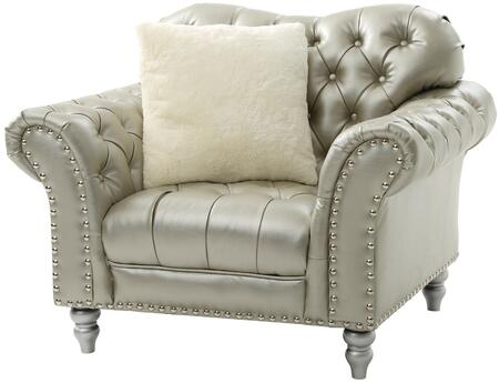 Glory Furniture G704C Faux Leather Armchair in Silver