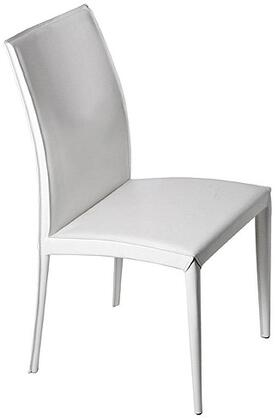 Euro Style 02350WHT Dafney Series Leather Dining Room Chair