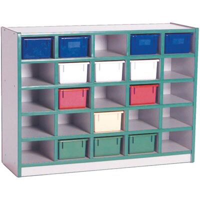 Mahar M60202 25 Opening Cubbie Unit with Trays in Maple Finish with Edge Color
