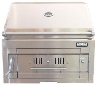 Sunstone SUNCHDZ Built-In Charcoal Grill with 14 Gauge 304 Stainless Steel Drawer System, Removable Drawer, Smoker Box, Warming Rack, and Adjustable Charcoal/Wood Trays, in Stainless Steel