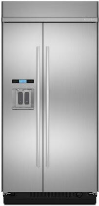 "Jenn-Air JS48TDUDE 48"" Built-In Side by Side Refrigerator with Water Dispenser, Precision Temperature Management System, Produce Preserver, QuickMeasure Function, and Elegance Shelving."