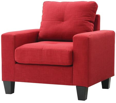 Glory Furniture G474AC Newbury Series Red Faux Leather Armchair