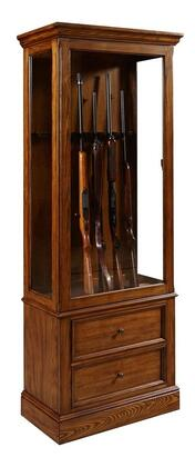 Pulaski 215001 Gun Cabinet with 2 Drawers, 3-Way Touch Dimmer Switch, LED Light, Selected Hardwood Solids and Veneers