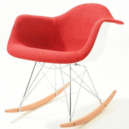 EdgeMod EM163RED Padded Rocker Series  Wood and Metal Frame Fabric Rocking Chair