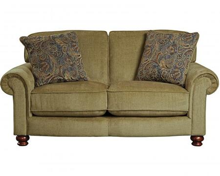 """Jackson Furniture Downing Collection 4384-02- 74"""" Loveseat with Rolled Arms, Turned Bun Feet and Reversible Seat Cushions in"""