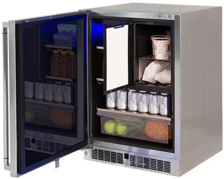 """Lynx LM24REFCx 24"""" Professional Series Outdoor Compact Refrigerator with Freezer, 4.9 cu. ft. Total Capacity, Blue LED Lighting and Door Alarm, in Stainless Steel with"""