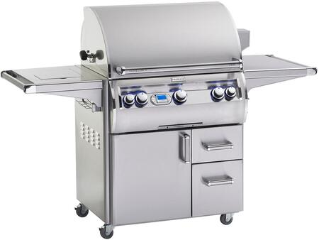 FireMagic E660S4EAX71W Echelon Diamond Series Freestanding Gas Grill with 660 sq. in. Cooking Area, 3 Burners, Double Wall Seamless 304 Stainless Steel Hood, Analog Thermometer, Double Side Burner, Magic Windows, in Stainless Steel