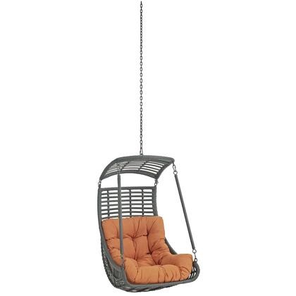 "Modway Jungle Collection EEI-2655- 26"" Outdoor Patio Swing Chair with Powder-Coated Steel Frame, Synthetic Rattan Weave and Washable Polyester Cushions in"