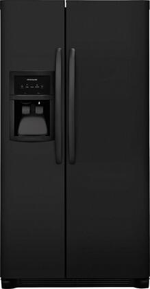 """Frigidaire FFHX2325T 33"""" Energy Star Side-by-Side Refrigerator with 22.1 cu. ft. Capacity, LED Lighting, External Ice and Water Dispenser, 2 Store-More Glass Shelves, 2 Wire Freezer Shelves, and Automatic Ice Maker, in"""