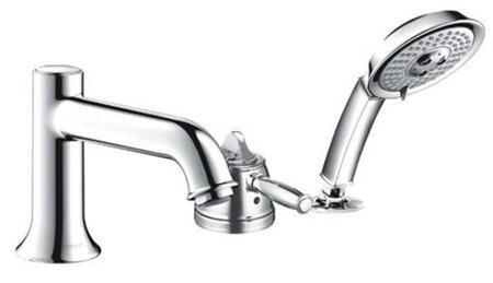 Hansgrohe 4133 Single Handle Three Hole Thermostatic Roman Tub Filler Faucet with Metal Lever Handle and Multi Function Hand Shower from the Talis C Collection: