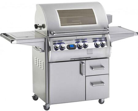 FireMagic E660S-4E1X-62-W Echelon Diamond Series Freestanding Grill with a 660 sq. im. Cooking Space and Cast E Burners a View Window a Side Burner and Shelf: Stainless Steel