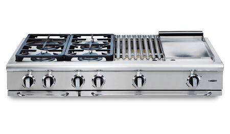 "Capital GRT486QN 48"" Precision Series Stainless Steel Natural Gas Sealed Burner Style Cooktop"