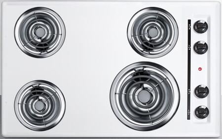 "Summit WEL05 30""  White 4 Element Electric Cooktop"