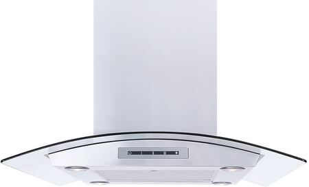 Windster WS-68N Tempered Cureved Glass Canopy Stainless Steel Island Mount Range Hood