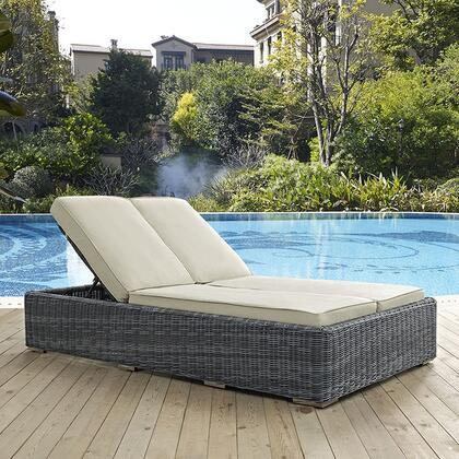 """Modway Summon EEI1994GRY 80"""" Double Outdoor Patio Sunbrella Chaise with 201 Stainless Steel Legs, Two-Tone Synthetic Rattan Weave, UV and Water Resistant in Canvas Color"""