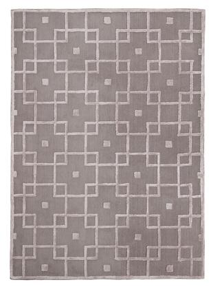 Milo Italia Saul RG440429TM X Size Rug with Handmade Trellis Design, Polyester and Viscose Blend Material, Backed with Cotton in Grey Color