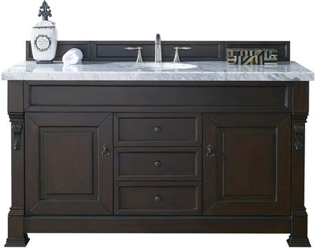 """James Martin Brookfield Collection 147-114-5361- 60"""" Burnished Mahogany Single Vanity with Two Soft Closing Doors, Three Soft Closing Drawers, Backsplash, Hand Carved Filigrees and"""