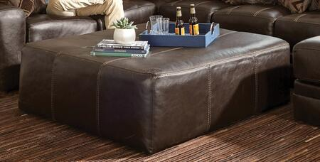 "Jackson Furniture Denali Collection 4378-28- 51"" Cocktail Ottoman with Top Grain Italian Leather and Decorative Luggage Stitching in"