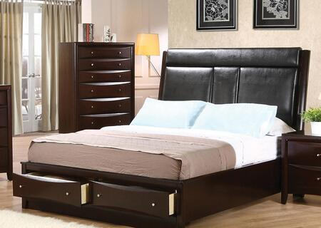 Coaster Phoenix Platform Bed with Leatherette Upholstered Headboard, Storage Drawers, Brushed Nickel Hardware, Solid Wood and Maple Veneer Construction in Cappuccino Finish