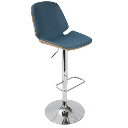 """LumiSource Serena BS-SER WL 38"""" - 46"""" Barstool with Fabric Upholstery, Walnut Wood Finish and Chrome Base in"""