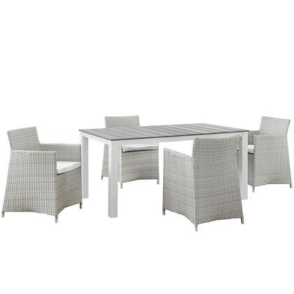 Modway EEI1746GRYWHISET Modern Rectangular Shape Patio Sets
