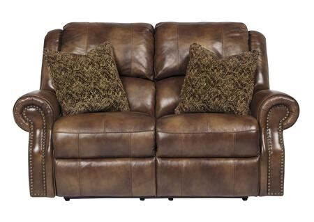 Signature Design by Ashley Walworth U7800LS Reclining Loveseat with 2 Down Bend Pillows Included, Stitching Details, Divided Backs and Plush Rolled Arms in