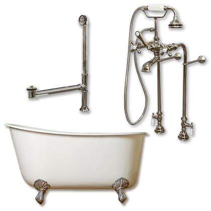 """Cambridge SWED54398463PKG Cast Iron Swedish Slipper Tub 54"""" x 30"""" with No Faucet Drillings and Complete Free Standing British Telephone Faucet and Hand Held Shower Plumbing Package"""