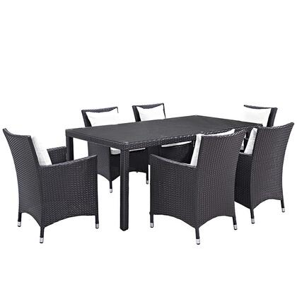 Modway Convene Collection 7 PC Outdoor Patio Dining Set with Synthetic Rattan Weave Material, Powder Coated Aluminum Frame and All-Weather Fabric Cushions in Espresso Color
