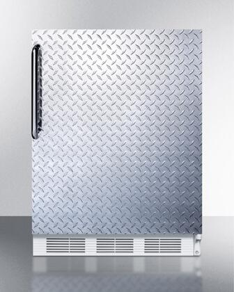 "AccuCold ALB651XDPL 24"" ADA Compliant Dual Evaporator Undercounter Refrigerator with 5.1 cu. ft. Capaicty, 2 Adjustable Wire Shelves, Cycle Defrost, and Adjustable Thermostat: Diamond Plate"