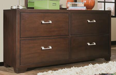 """American Woodcrafters 530-240 Smart Solutions 56"""" Double Dresser with Brushed Chrome Handles, Dovetail Drawer Box, Full Extension Roller Ball Glides, Finished Interior and 4 Large Storage Drawers"""