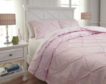 Signature Design by Ashley Medera Q76800 PC Size Comforter Set includes 1 Comforter and Standard Sham with Solid Pin Tuck Design and Cotton Material in Rose Color