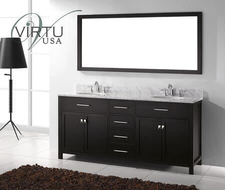 """Virtu USA Caroline 72"""" MD-2072-WMx-x Double x Sinks Bathroom Vanity in x with 1"""" Thick Italian Carrara White Marble Countertop with Backsplash, Framed Mirror, 4 Doors and 4 Drawers"""
