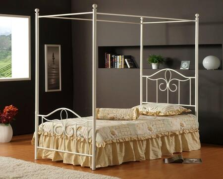 Hillsdale Furniture 1354BPR Westfield Canopy Bed with Rails Included, Arched Design, Scrollwork, Tubular Steel and Cast Aluminum Construction in Off White Finish