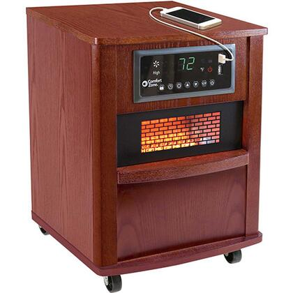 "Comfort Zone CZ2062 13"" Infrared Heater with 5120 BTU. Digital Thermostat with Auto On/Off Timer, Washable Air Filter, Built-In USB Charger Ports, Casters and Wood Case:"
