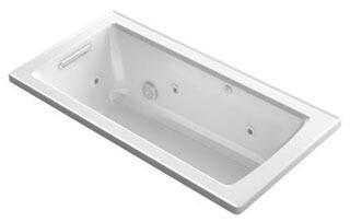 "Kohler K-1947-W1 Archer 60"" x 30"" Drop-In Whirlpool Bath Tub with Bask Heated Surface in"