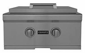"Coyote CPB 24"" Power Burner with Premium Stainless Steel Construction, Dual-Valve Burner with Up To 60,000 BTU Output, Simmer Performance at 1,000 BTU and Includes Stainless Steel Lid in Stainless Steel"