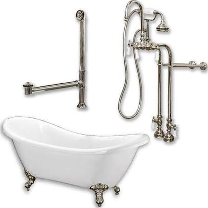 "Cambridge ADES398684PKG Acrylic Double Ended Clawfoot Bathtub 68"" x 30"" with No Faucet Drillings and Complete Plumbing Package"