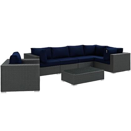 Modway Sojourn Collection 7 PC Outdoor Patio Sectional Set with Sunbrella  Fabric, Powder Coated Aluminum Frame and Synthetic Rattan Weave Material in
