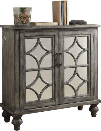 Acme Furniture Velika Collection Console Table with Mirrored Doors, Diamond Trim Inlay, Bun Turned Legs, Metal Hardware and Wood Veneer Materials in Weathered Grey Finish