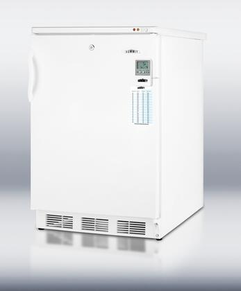 """Summit VT65MLME 24"""" Compact Upright Freezer with 3.2 cu. ft. Capacity, Manual Defrost, Factory Installed Lock and Adjustable Thermostat, in White"""