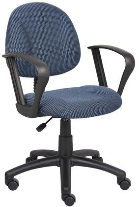 """Boss B317 35"""" Deluxe Posture Chair with Loop Arms, Thick Padded Seat and Back, Waterfall Seat, Adjustable Back Depth, Seat Height Adjustment and 5 Star Nylon Base"""
