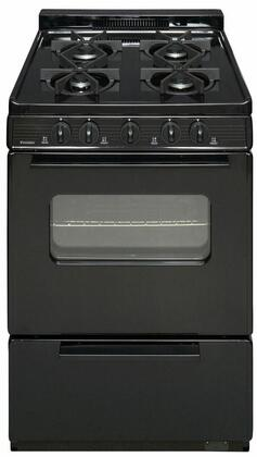 "Premier BJK5X0 ADA Compliant 24"" Cordless Battery Spark Gas Range with 3 Cu. Ft. Capacity, Four Sealed Burners, Cast-Iron Grates, Windowed Oven Door and 1.5"" Porcelain Backguard"