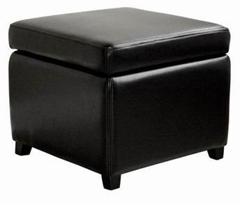 Wholesale Interiors Y-162- Full Leather Small Storage Cube Ottoman