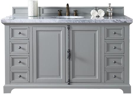 """James Martin Providence Collection 238-105-V60S-UGR- 60"""" Urban Gray Single Vanity with Plantation Style Hardware, Two Soft Close Doors, Six Soft Close Drawers and"""